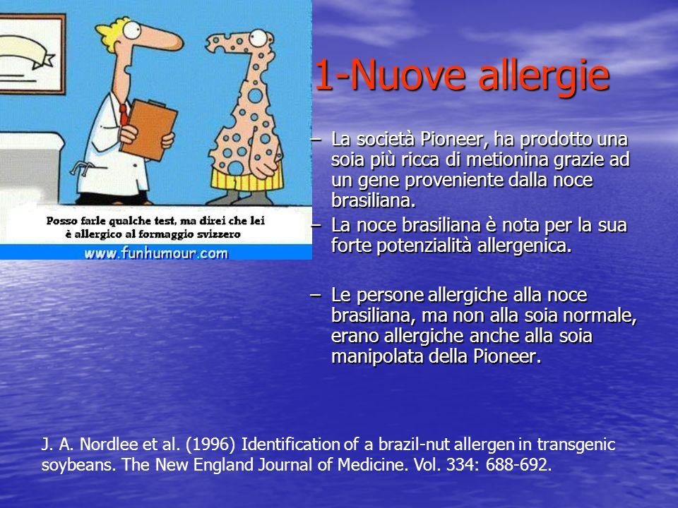1-Nuove allergie –La società Pioneer, ha prodotto una soia più ricca di metionina grazie ad un gene proveniente dalla noce brasiliana. –La noce brasil