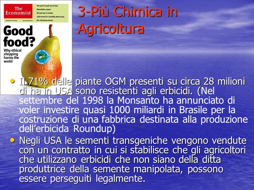 3-Più Chimica in Agricoltura Il 71% delle piante OGM presenti su circa 28 milioni di ha in USA sono resistenti agli erbicidi. ( Il 71% delle piante OG