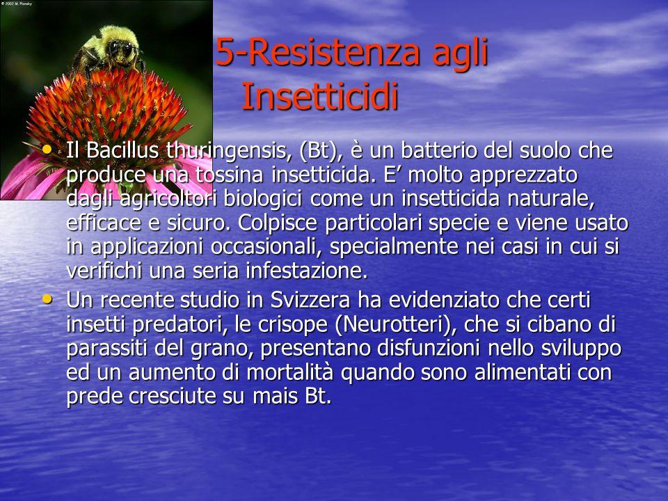 5-Resistenza agli Insetticidi 5-Resistenza agli Insetticidi Il Bacillus thuringensis, (Bt), è un batterio del suolo che produce una tossina insetticid