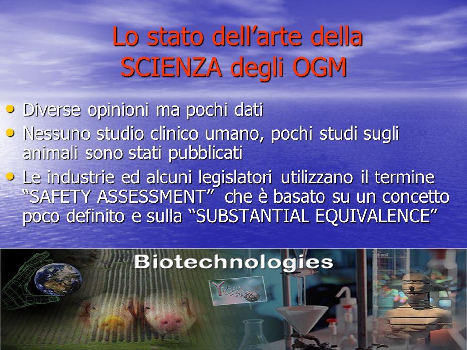 Lo stato dellarte della SCIENZA degli OGM Lo stato dellarte della SCIENZA degli OGM Diverse opinioni ma pochi dati Diverse opinioni ma pochi dati Ness