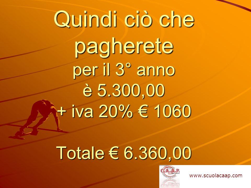 Quindi ciò che pagherete per il 3° anno è 5.300,00 + iva 20% 1060 Totale 6.360,00 www.scuolacaap.com