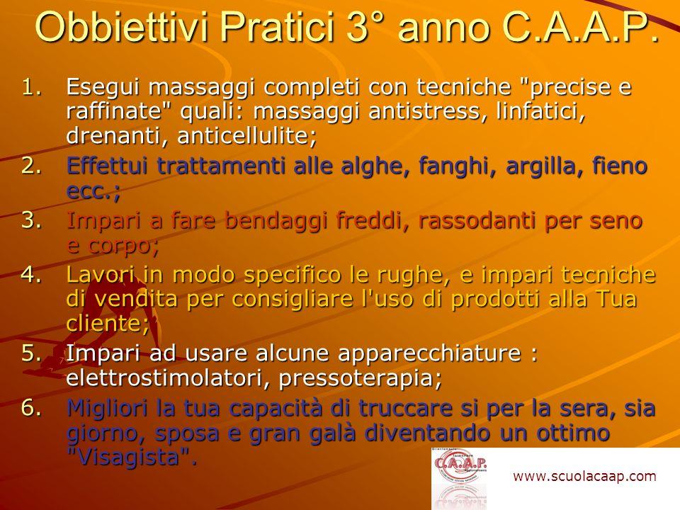 Obbiettivi Pratici 3° anno C.A.A.P. 1.Esegui massaggi completi con tecniche