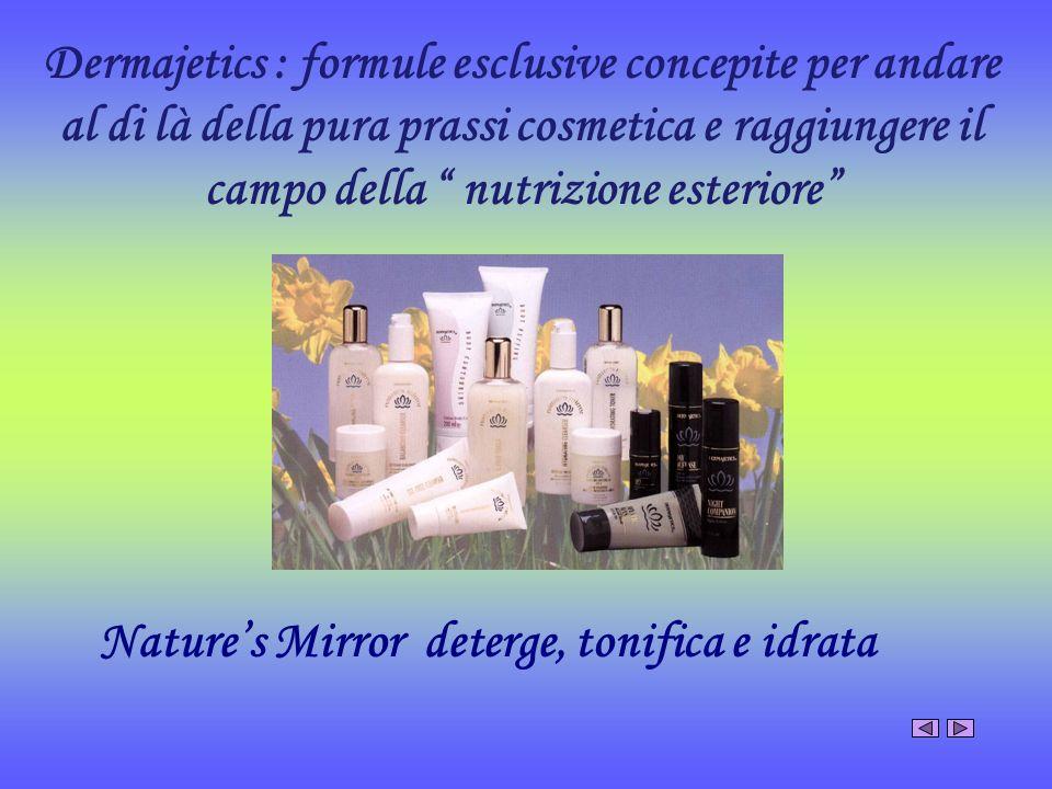 Dermajetics : formule esclusive concepite per andare al di là della pura prassi cosmetica e raggiungere il campo della nutrizione esteriore Natures Mi