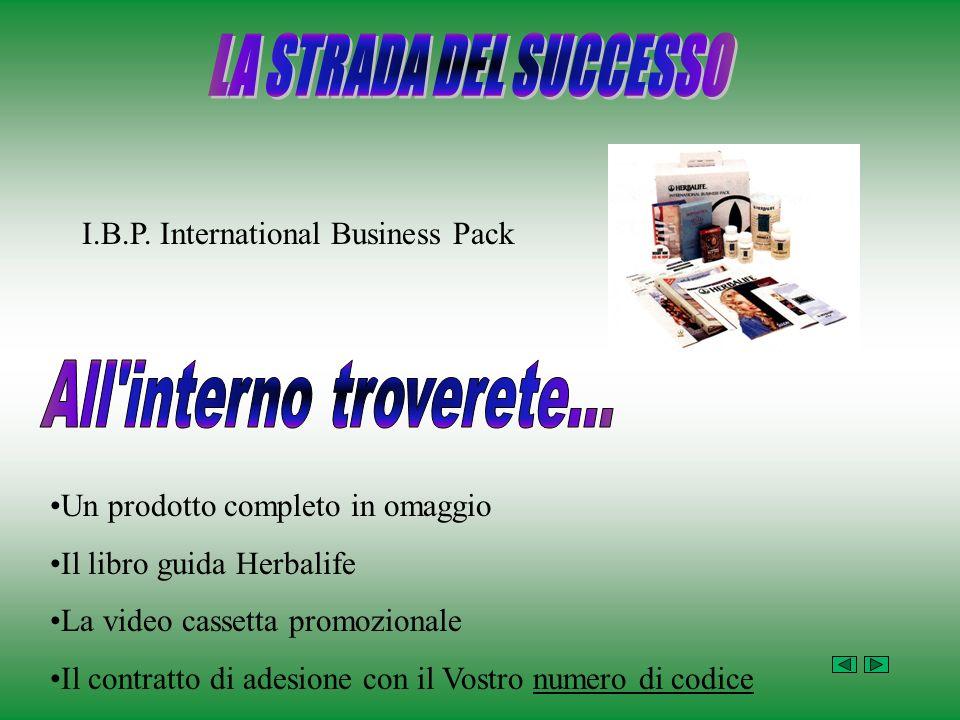 I.B.P. International Business Pack Un prodotto completo in omaggio Il libro guida Herbalife La video cassetta promozionale Il contratto di adesione co