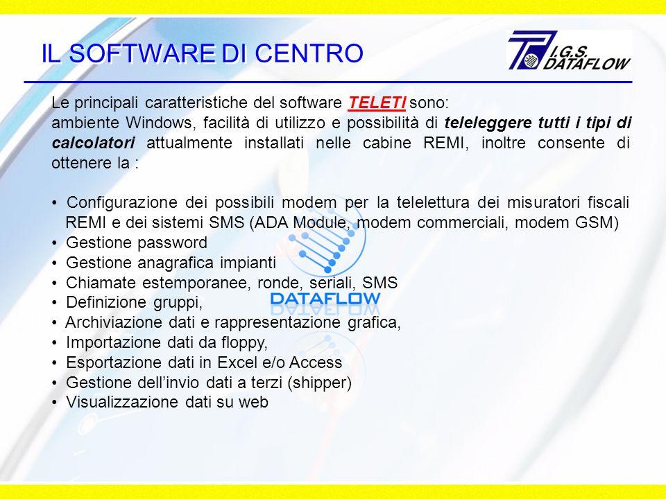IL SOFTWARE DI CENTRO Le principali caratteristiche del software TELETI sono: ambiente Windows, facilità di utilizzo e possibilità di teleleggere tutti i tipi di calcolatori attualmente installati nelle cabine REMI, inoltre consente di ottenere la : Configurazione dei possibili modem per la telelettura dei misuratori fiscali REMI e dei sistemi SMS (ADA Module, modem commerciali, modem GSM) Gestione password Gestione anagrafica impianti Chiamate estemporanee, ronde, seriali, SMS Definizione gruppi, Archiviazione dati e rappresentazione grafica, Importazione dati da floppy, Esportazione dati in Excel e/o Access Gestione dellinvio dati a terzi (shipper) Visualizzazione dati su web
