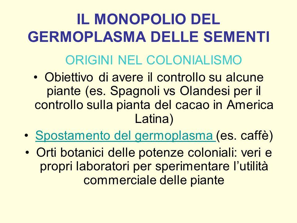 IL MONOPOLIO DEL GERMOPLASMA DELLE SEMENTI ORIGINI NEL COLONIALISMO Obiettivo di avere il controllo su alcune piante (es. Spagnoli vs Olandesi per il