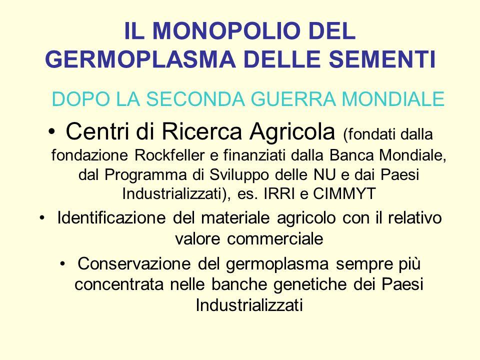 IL MONOPOLIO DEL GERMOPLASMA DELLE SEMENTI DOPO LA SECONDA GUERRA MONDIALE Centri di Ricerca Agricola (fondati dalla fondazione Rockfeller e finanziat