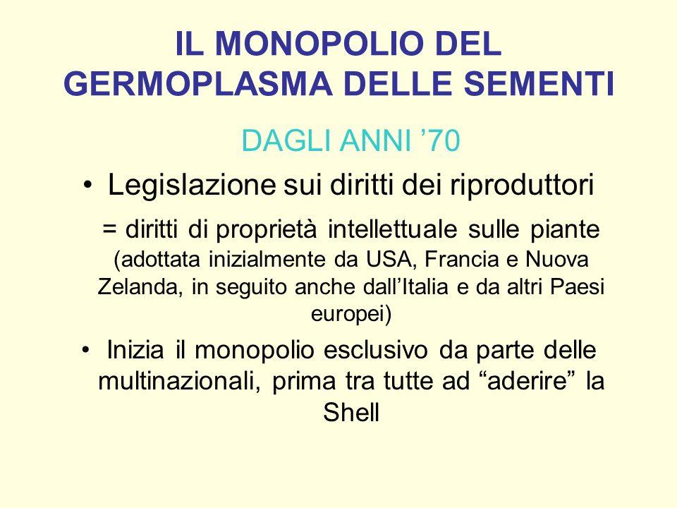 IL MONOPOLIO DEL GERMOPLASMA DELLE SEMENTI DAGLI ANNI 70 Legislazione sui diritti dei riproduttori = diritti di proprietà intellettuale sulle piante (