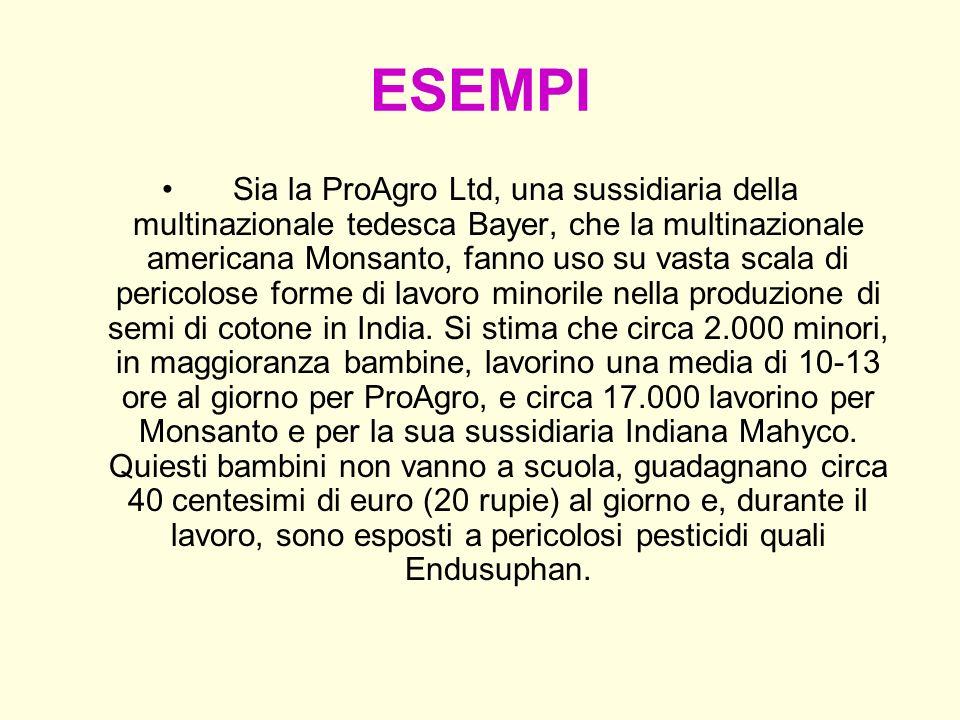 ESEMPI Sia la ProAgro Ltd, una sussidiaria della multinazionale tedesca Bayer, che la multinazionale americana Monsanto, fanno uso su vasta scala di p