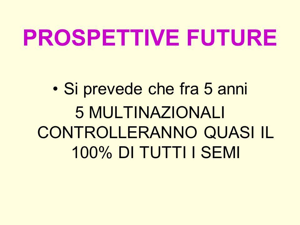 PROSPETTIVE FUTURE Si prevede che fra 5 anni 5 MULTINAZIONALI CONTROLLERANNO QUASI IL 100% DI TUTTI I SEMI