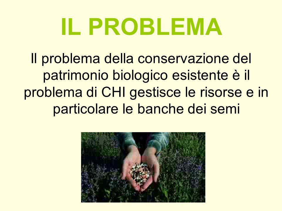 IL PROBLEMA Il problema della conservazione del patrimonio biologico esistente è il problema di CHI gestisce le risorse e in particolare le banche dei