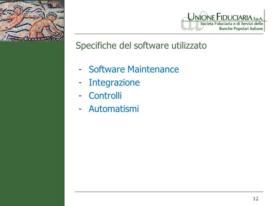 Specifiche del software utilizzato 12 -Software Maintenance -Integrazione -Controlli -Automatismi