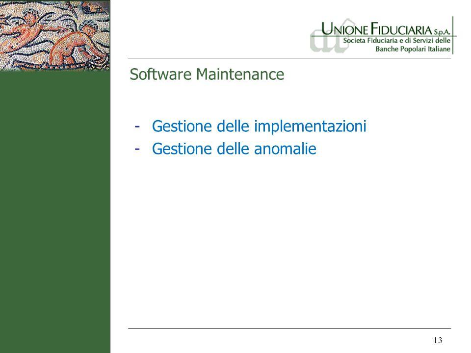 Software Maintenance 13 -Gestione delle implementazioni -Gestione delle anomalie