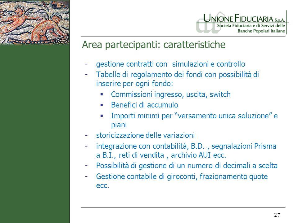 Area partecipanti: caratteristiche 27 -gestione contratti con simulazioni e controllo -Tabelle di regolamento dei fondi con possibilità di inserire pe