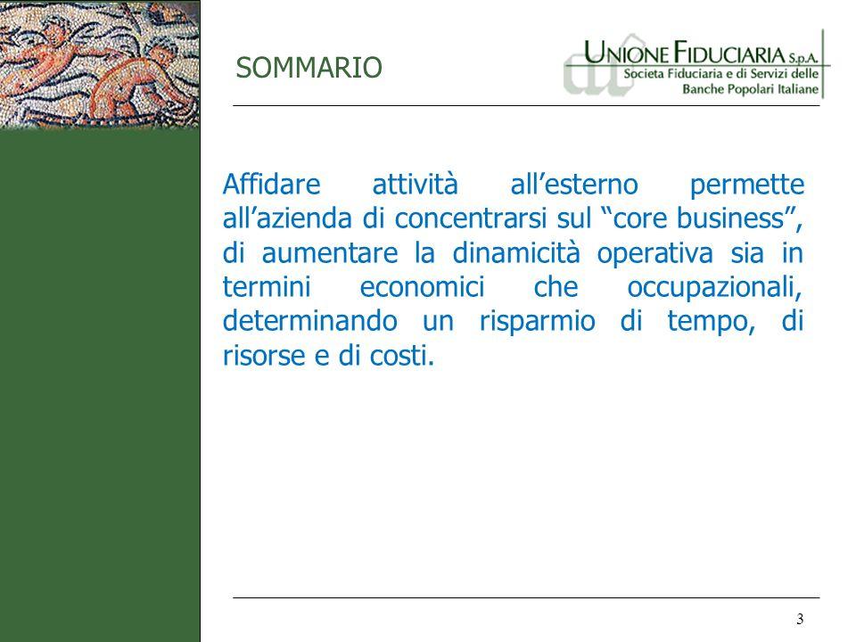SOMMARIO 3 Affidare attività allesterno permette allazienda di concentrarsi sul core business, di aumentare la dinamicità operativa sia in termini eco