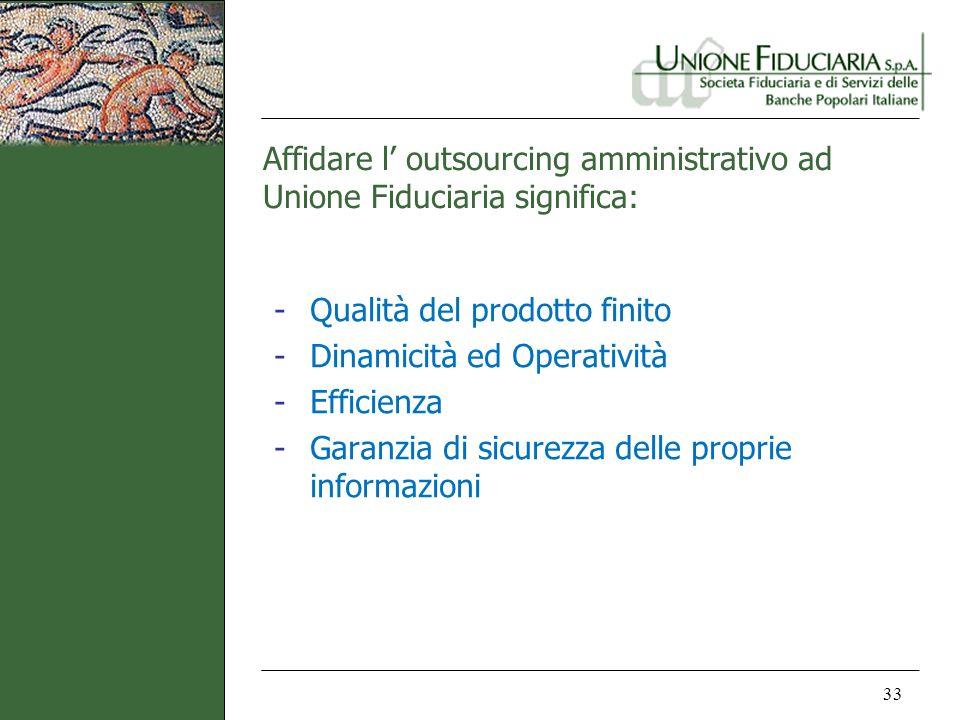 Affidare l outsourcing amministrativo ad Unione Fiduciaria significa: 33 -Qualità del prodotto finito -Dinamicità ed Operatività -Efficienza -Garanzia