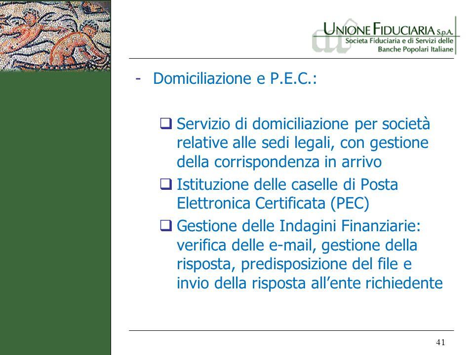 41 -Domiciliazione e P.E.C.: Servizio di domiciliazione per società relative alle sedi legali, con gestione della corrispondenza in arrivo Istituzione