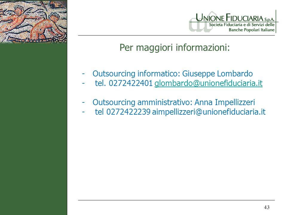 Per maggiori informazioni: 43 -Outsourcing informatico: Giuseppe Lombardo - tel. 0272422401 glombardo@unionefiduciaria.itglombardo@unionefiduciaria.it