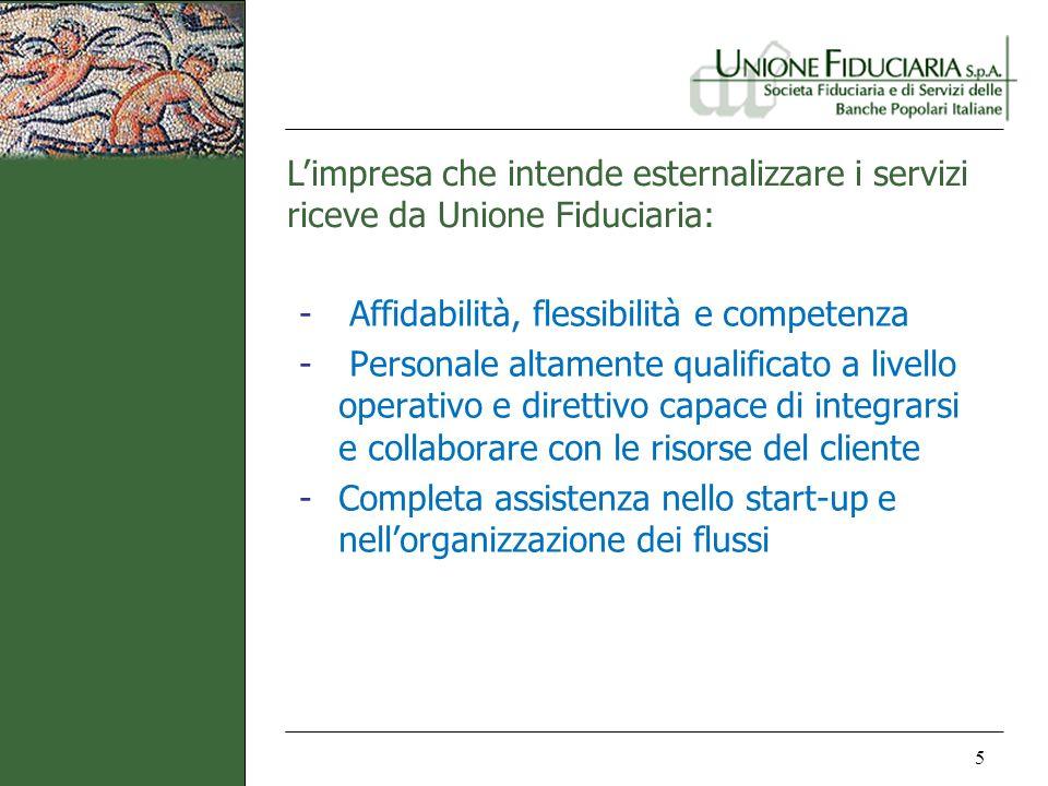 Limpresa che intende esternalizzare i servizi riceve da Unione Fiduciaria: 5 - Affidabilità, flessibilità e competenza - Personale altamente qualifica