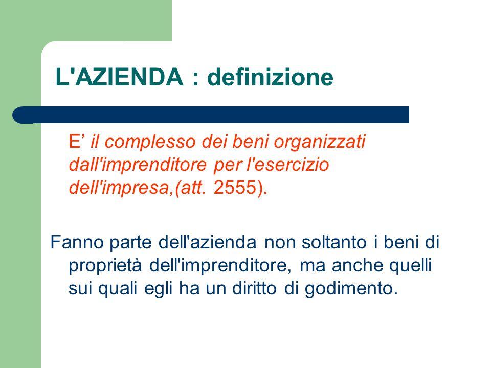 E il complesso dei beni organizzati dall'imprenditore per l'esercizio dell'impresa,(att. 2555). Fanno parte dell'azienda non soltanto i beni di propri