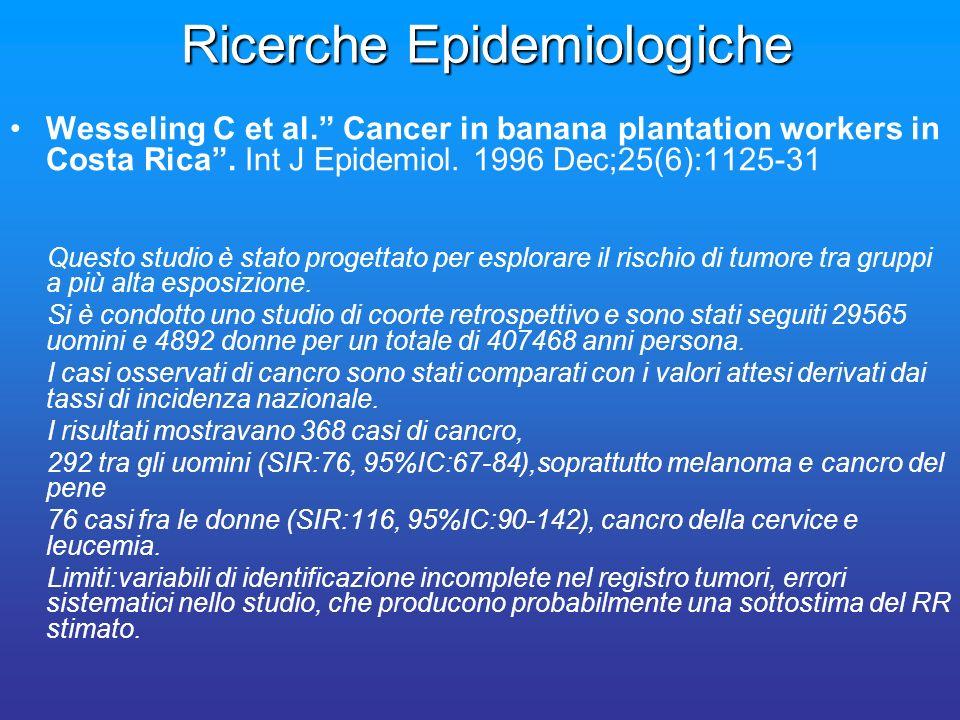 Ricerche Epidemiologiche Wesseling C et al. Cancer in banana plantation workers in Costa Rica. Int J Epidemiol. 1996 Dec;25(6):1125-31 Questo studio è