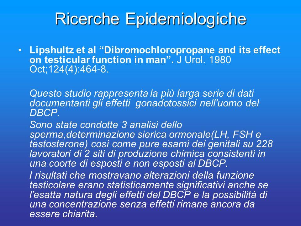 Ricerche Epidemiologiche Lipshultz et al Dibromochloropropane and its effect on testicular function in man. J Urol. 1980 Oct;124(4):464-8. Questo stud