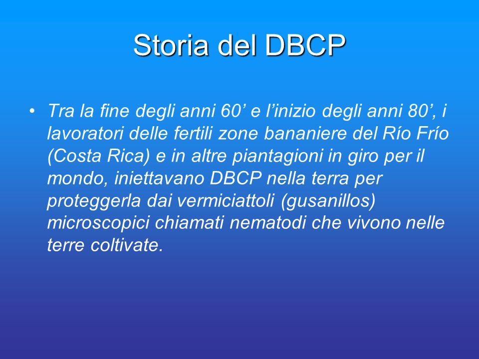 Storia del DBCP Tra la fine degli anni 60 e linizio degli anni 80, i lavoratori delle fertili zone bananiere del Río Frío (Costa Rica) e in altre pian