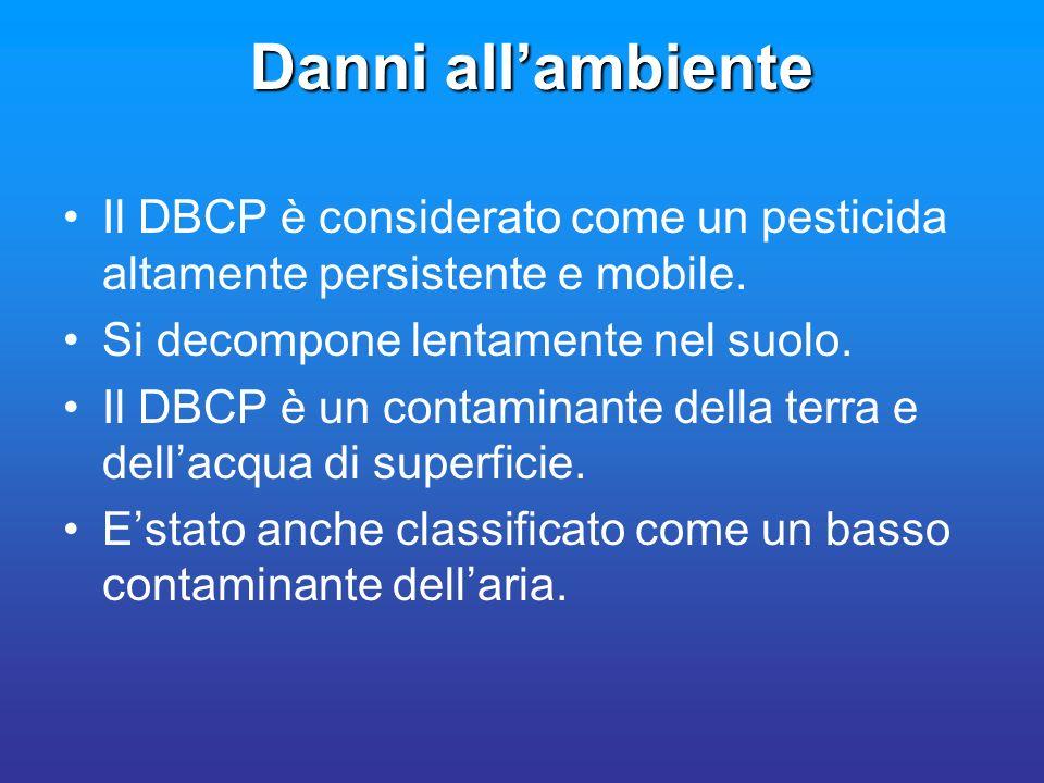 Danni allambiente Il DBCP è considerato come un pesticida altamente persistente e mobile. Si decompone lentamente nel suolo. Il DBCP è un contaminante