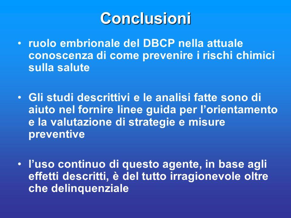 Conclusioni ruolo embrionale del DBCP nella attuale conoscenza di come prevenire i rischi chimici sulla salute Gli studi descrittivi e le analisi fatt