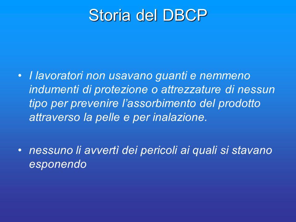 Storia del DBCP I lavoratori non usavano guanti e nemmeno indumenti di protezione o attrezzature di nessun tipo per prevenire lassorbimento del prodot
