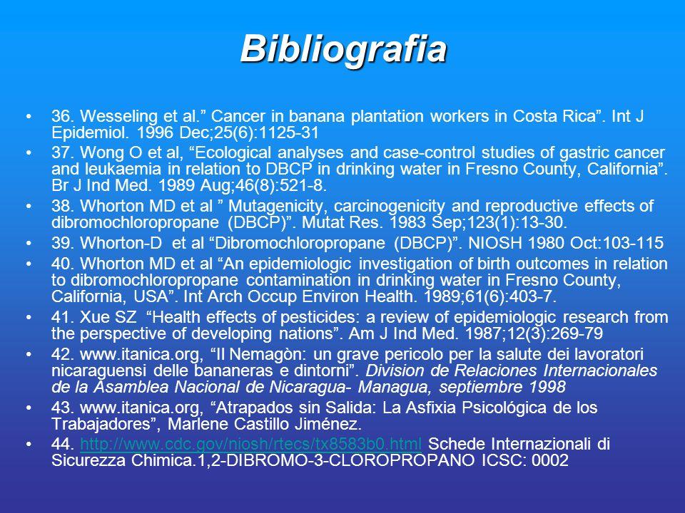 Bibliografia 36. Wesseling et al. Cancer in banana plantation workers in Costa Rica. Int J Epidemiol. 1996 Dec;25(6):1125-31 37. Wong O et al, Ecologi