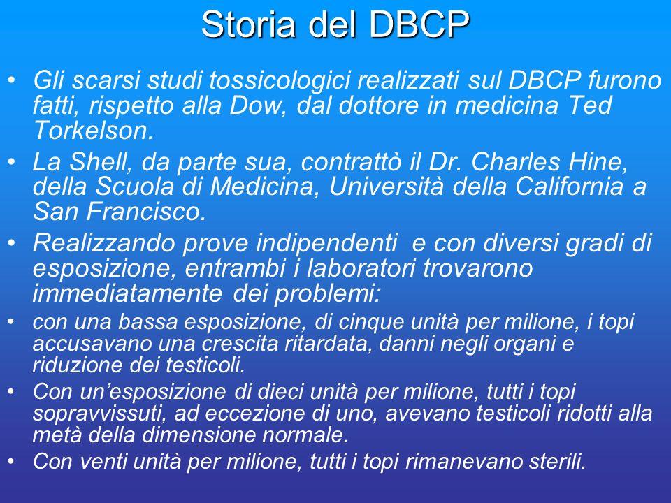 Storia del DBCP Gli scarsi studi tossicologici realizzati sul DBCP furono fatti, rispetto alla Dow, dal dottore in medicina Ted Torkelson. La Shell, d