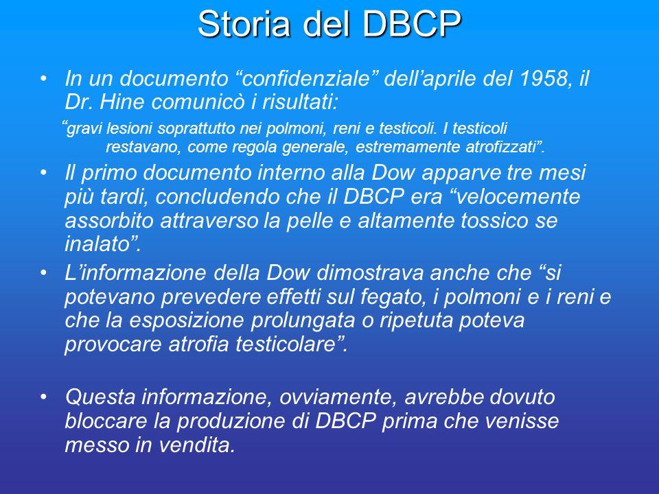 Storia del DBCP In un documento confidenziale dellaprile del 1958, il Dr. Hine comunicò i risultati: gravi lesioni soprattutto nei polmoni, reni e tes