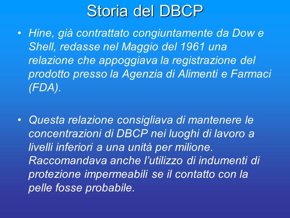 Storia del DBCP Hine, già contrattato congiuntamente da Dow e Shell, redasse nel Maggio del 1961 una relazione che appoggiava la registrazione del pro