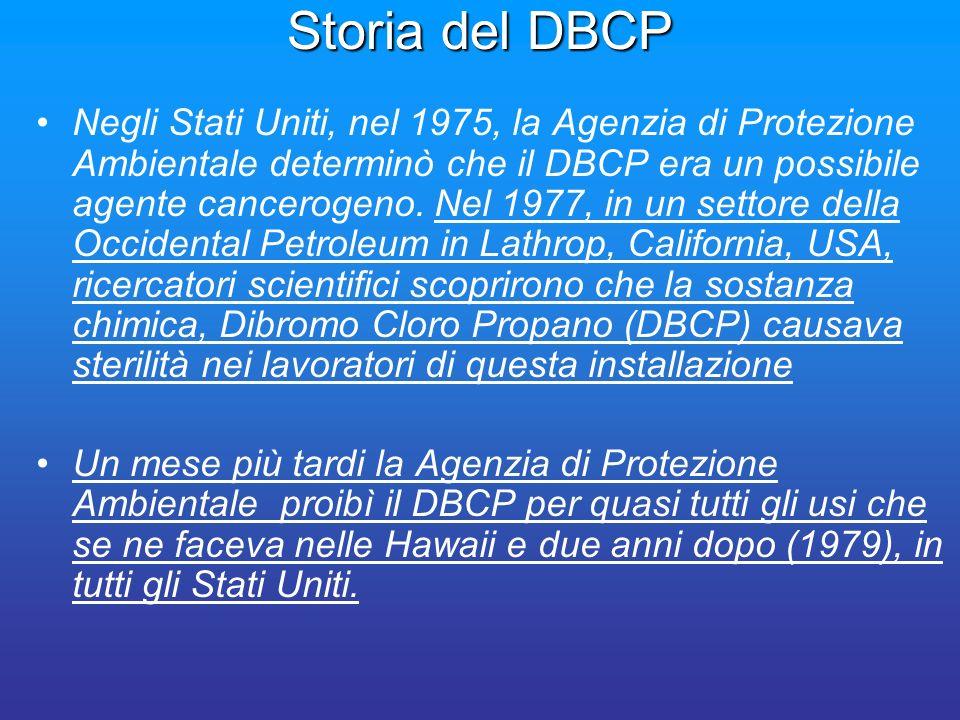 Storia del DBCP Negli Stati Uniti, nel 1975, la Agenzia di Protezione Ambientale determinò che il DBCP era un possibile agente cancerogeno. Nel 1977,