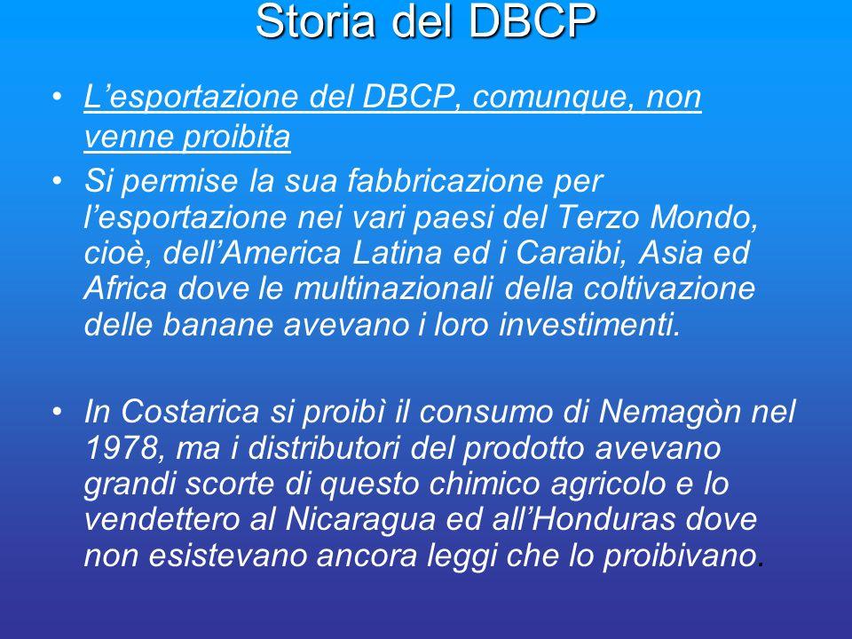 Storia del DBCP Lesportazione del DBCP, comunque, non venne proibita Si permise la sua fabbricazione per lesportazione nei vari paesi del Terzo Mondo,