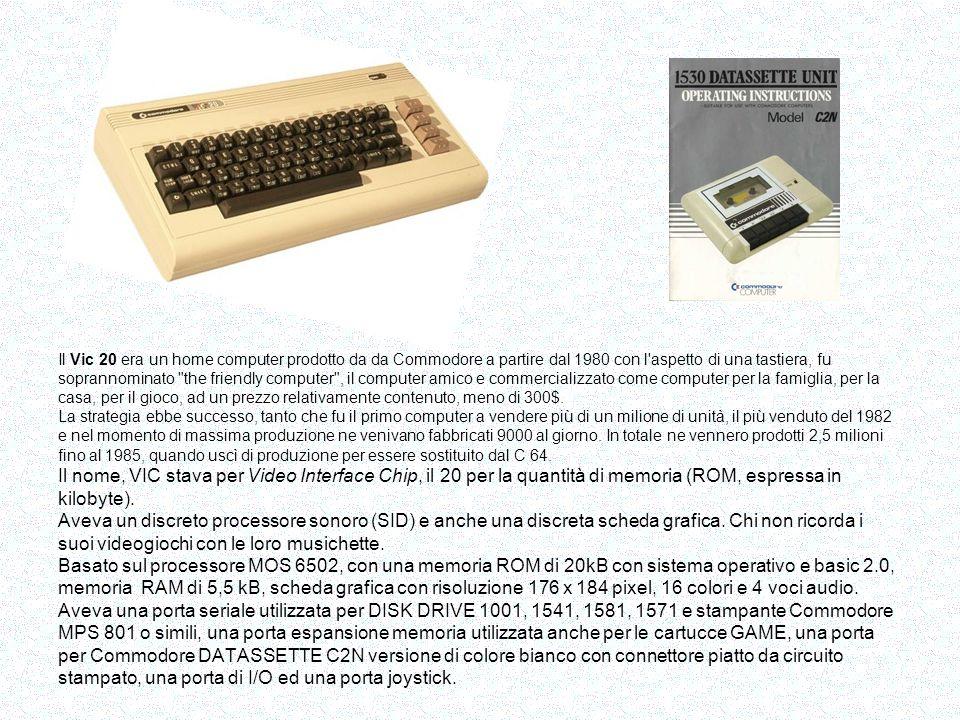 Sinclair ZX-81 Dimensioni: 16,7 cm x 4 cm Peso:350 gr Processore: Z80Z a 3,25 MHz ROM: 8 kb con interprete BASIC RAM: 1 Kb interna, espandibile esternamente a 16 kb Tastiera a 40 tasti, a membrana Grafica: 20 caratteri grafici e 54 caratteri negativi Video: uscita in RF per la televisione, nella quale si visualizzavano 24 linee di 32 caratteri, oppure 64 x 44 pixel in grafica.