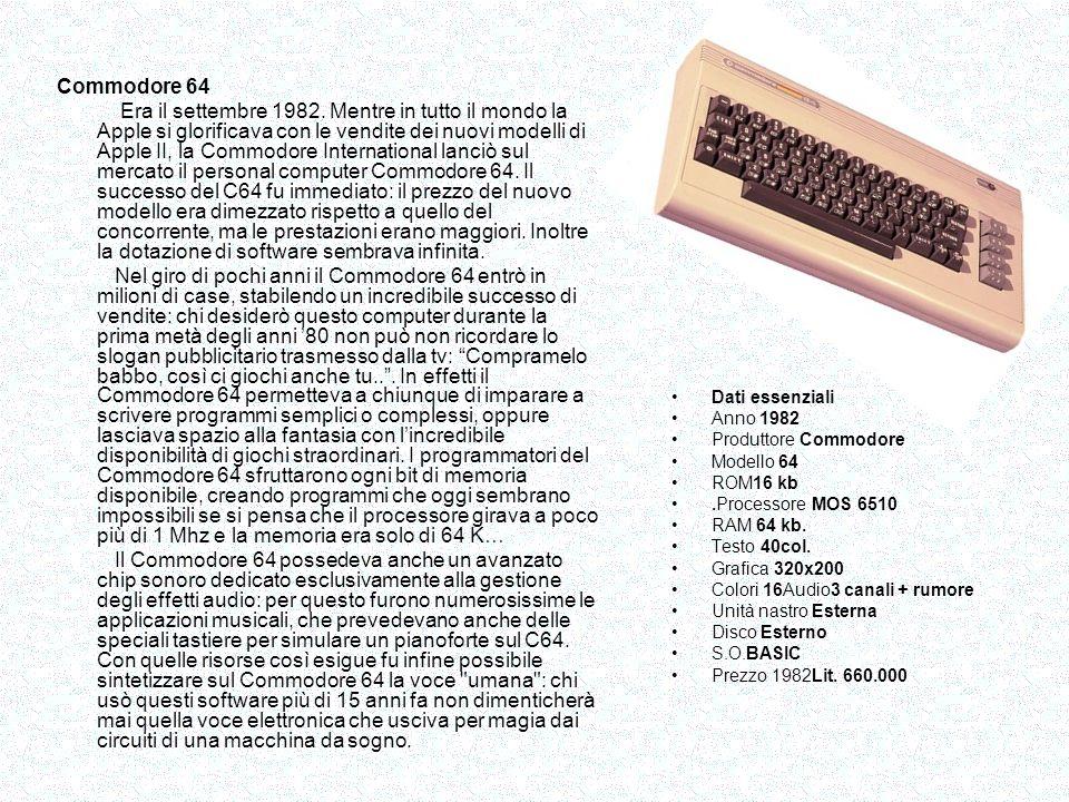 Il Sinclair ZX Spectrum è stato il successore dello ZX81, e venne lanciato sul mercato nellottobre 1982 e con il suo ingombro ridotto, lestetica era molto curati e gradevoli.