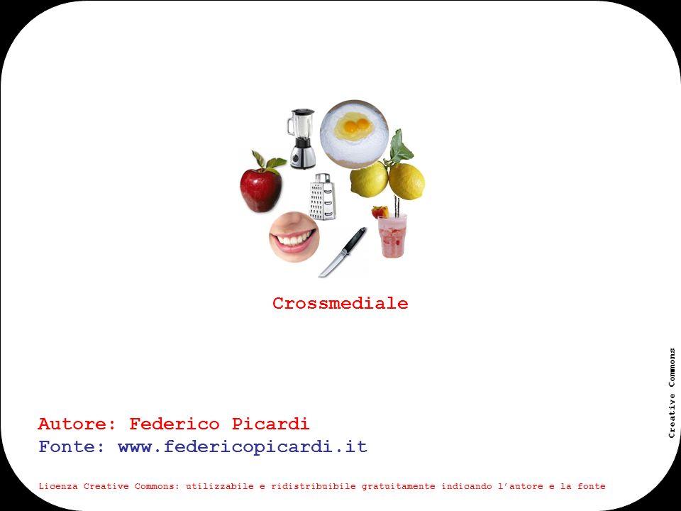 www.federicopicardi.it Creative Commons Crossmediale viene detto crossmediale un progetto o più in generale una esperienza che si sviluppa tramite attività differenti declinate su media differenti; attività che, in maniera organica e coordinata, contribuiscono a realizzare il progetto nel suo complesso.
