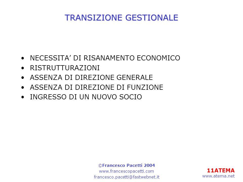 11ATEMA www.atema.net TRANSIZIONE GESTIONALE NECESSITA DI RISANAMENTO ECONOMICO RISTRUTTURAZIONI ASSENZA DI DIREZIONE GENERALE ASSENZA DI DIREZIONE DI FUNZIONE INGRESSO DI UN NUOVO SOCIO ©Francesco Pacetti 2004 www.francescopacetti.com francesco.pacetti@fastwebnet.it