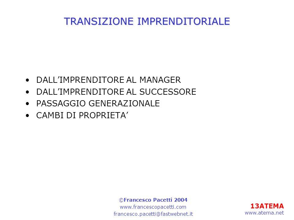 13ATEMA www.atema.net TRANSIZIONE IMPRENDITORIALE DALLIMPRENDITORE AL MANAGER DALLIMPRENDITORE AL SUCCESSORE PASSAGGIO GENERAZIONALE CAMBI DI PROPRIETA ©Francesco Pacetti 2004 www.francescopacetti.com francesco.pacetti@fastwebnet.it