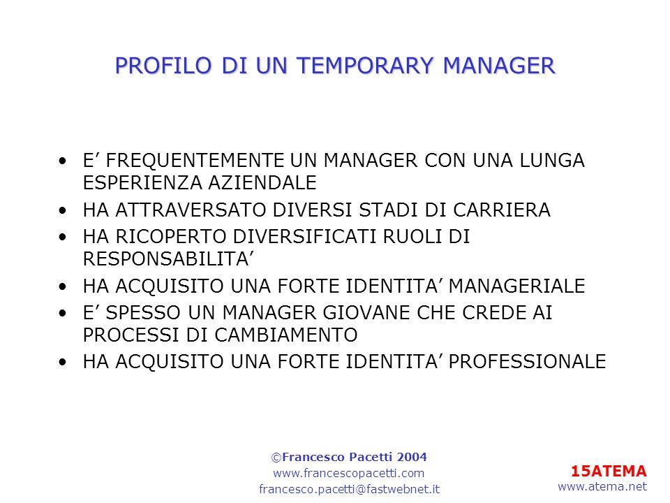 15ATEMA www.atema.net PROFILO DI UN TEMPORARY MANAGER E FREQUENTEMENTE UN MANAGER CON UNA LUNGA ESPERIENZA AZIENDALE HA ATTRAVERSATO DIVERSI STADI DI CARRIERA HA RICOPERTO DIVERSIFICATI RUOLI DI RESPONSABILITA HA ACQUISITO UNA FORTE IDENTITA MANAGERIALE E SPESSO UN MANAGER GIOVANE CHE CREDE AI PROCESSI DI CAMBIAMENTO HA ACQUISITO UNA FORTE IDENTITA PROFESSIONALE ©Francesco Pacetti 2004 www.francescopacetti.com francesco.pacetti@fastwebnet.it