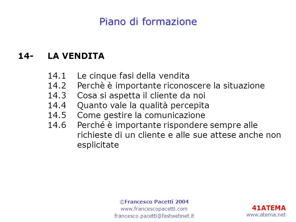 41ATEMA www.atema.net Piano di formazione 14-LA VENDITA 14.1Le cinque fasi della vendita 14.2Perchè è importante riconoscere la situazione 14.3Cosa si