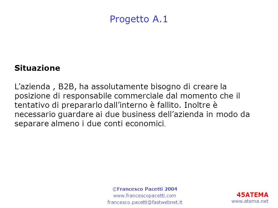 45ATEMA www.atema.net Progetto A.1 Situazione Lazienda, B2B, ha assolutamente bisogno di creare la posizione di responsabile commerciale dal momento che il tentativo di prepararlo dallinterno è fallito.