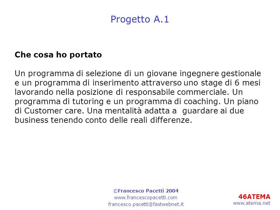 46ATEMA www.atema.net Progetto A.1 Che cosa ho portato Un programma di selezione di un giovane ingegnere gestionale e un programma di inserimento attraverso uno stage di 6 mesi lavorando nella posizione di responsabile commerciale.