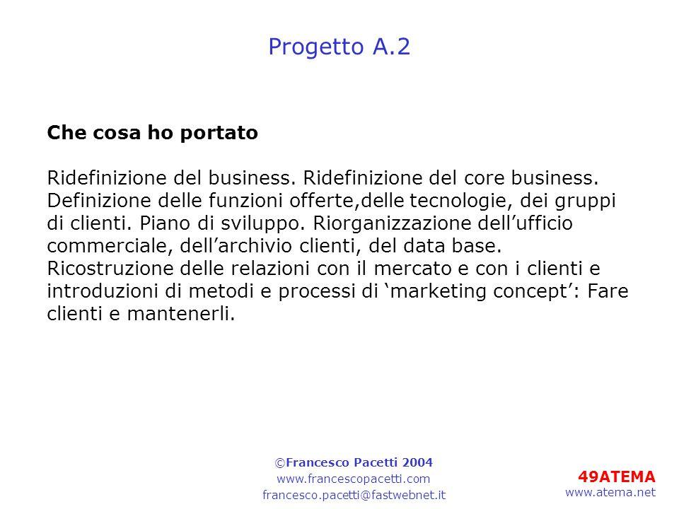 49ATEMA www.atema.net Progetto A.2 Che cosa ho portato Ridefinizione del business. Ridefinizione del core business. Definizione delle funzioni offerte