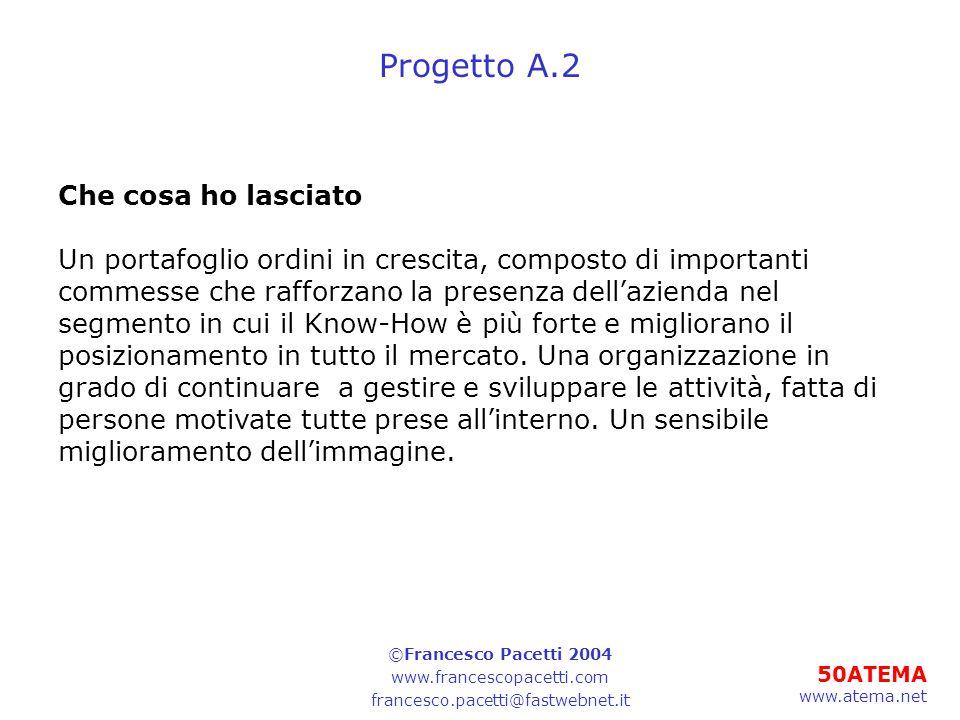 50ATEMA www.atema.net Progetto A.2 Che cosa ho lasciato Un portafoglio ordini in crescita, composto di importanti commesse che rafforzano la presenza