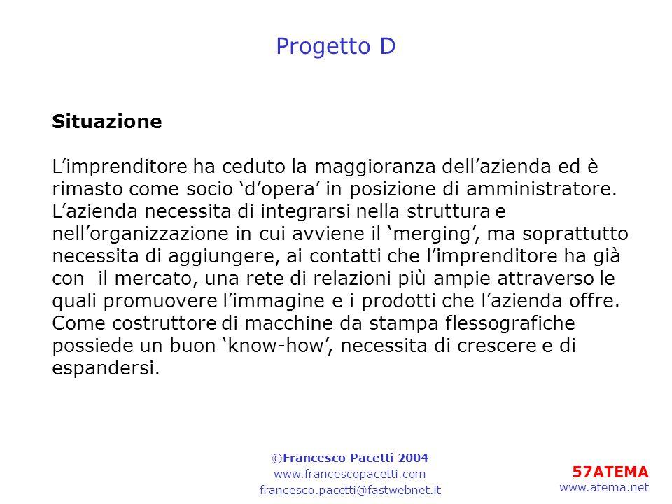 57ATEMA www.atema.net Progetto D Situazione Limprenditore ha ceduto la maggioranza dellazienda ed è rimasto come socio dopera in posizione di amminist