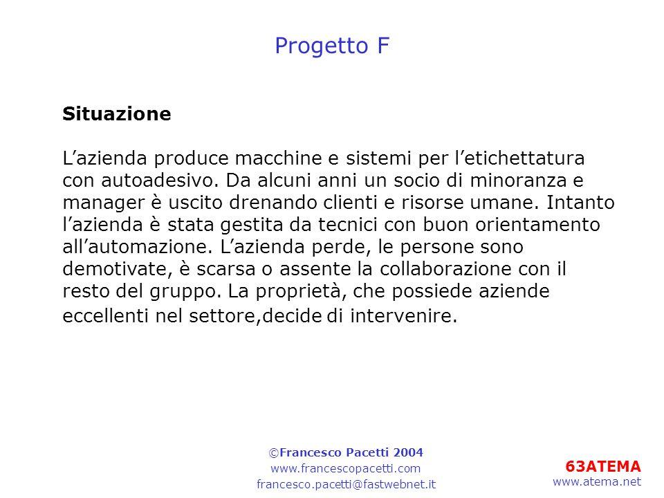 63ATEMA www.atema.net Progetto F Situazione Lazienda produce macchine e sistemi per letichettatura con autoadesivo. Da alcuni anni un socio di minoran