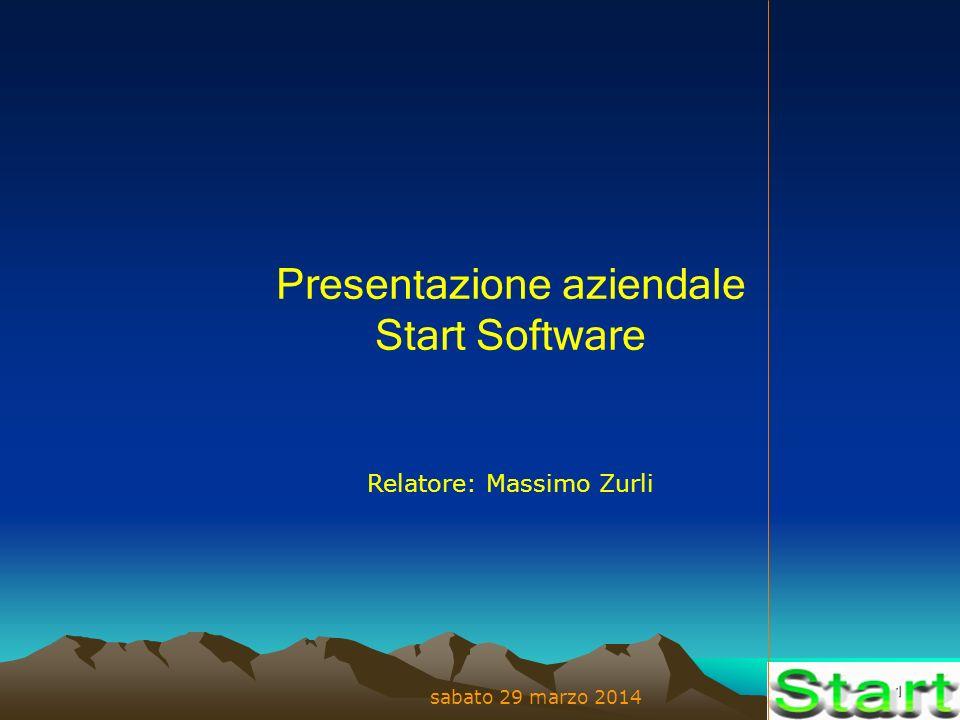 1 sabato 29 marzo 2014 Presentazione aziendale Start Software Relatore: Massimo Zurli